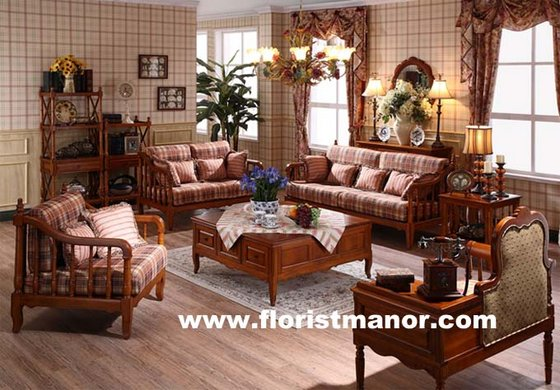 Full Solid Wood Home Living Room Furniture Sofa Set LM01