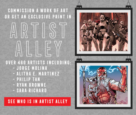 Commission a work of art or get an exclusive print in Artist Alley