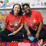 teacher and paraeducator in their classroom