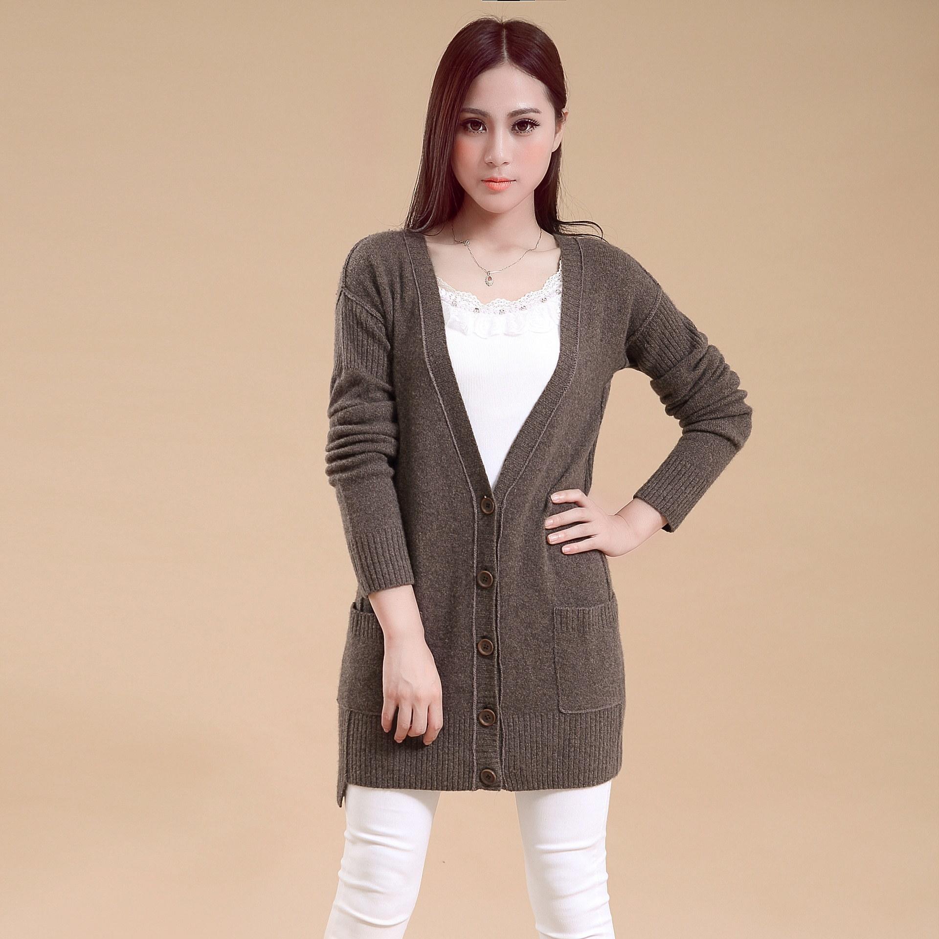 女士羊絨混紡毛衣外套與SD9009 /開衫毛衣制造商外連接縫