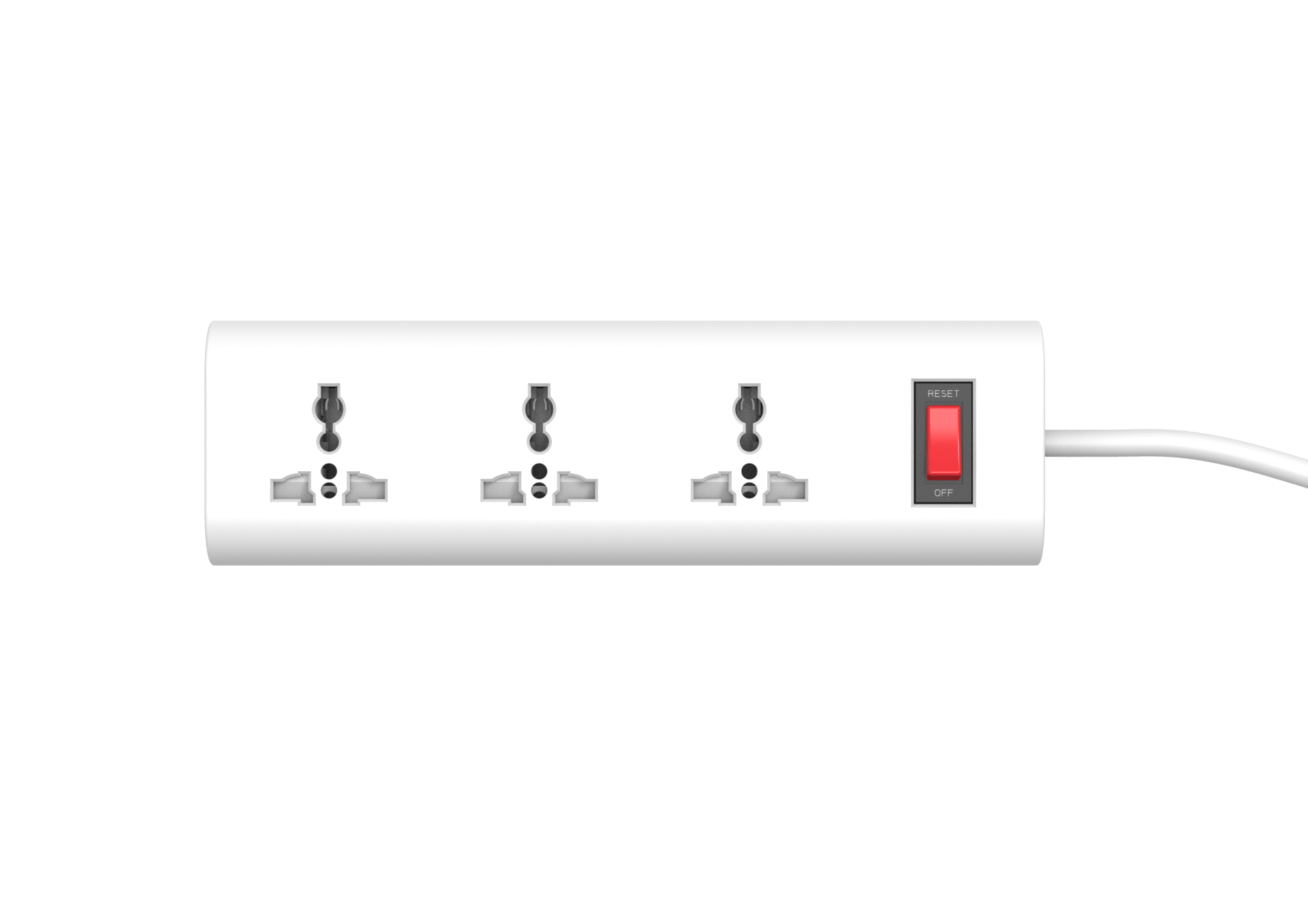 3 AC outlet universal power strip with switch