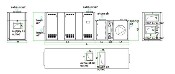 indoor exhaust air pre-cooling type air handling unit