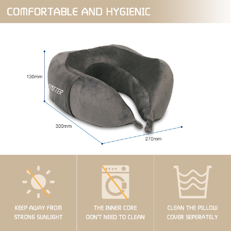 travel neck pillow colemeter memory foam soft neck support pillow compact folded in a handy carry pouch gray