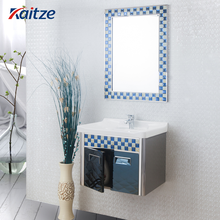Wall Hanging Water Proof Smalll Bathroom Vanity Combo Basin With Mirror Mosaic Decorative