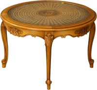 VINTAGE ROUND FRENCH COUNTRY COFFEE TABLE, WICKER/GLASS ...