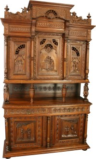 ANTIQUE CHESTNUT FRENCH BRITTANY STYLE BEER WINE BUFFET