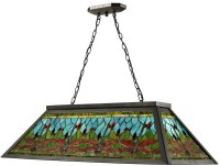 NEW DALE TIFFANY POOL TABLE LIGHT FIXTURE DRAGONFLY GLASS ...