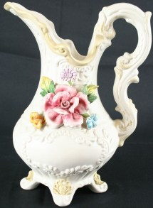 Vintage Italian Capodimonte Pitcher Vase Flowers Roses