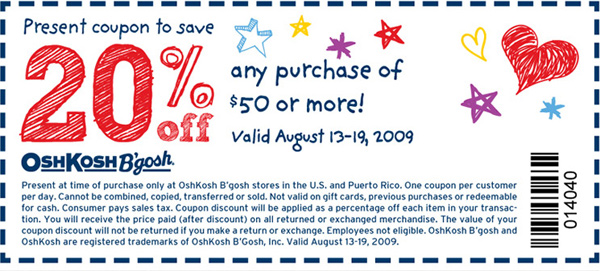 20% off any purchase of $50 or more! Coupon valid August 13-19, 2009. Code 014040.