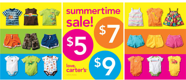 carter's summertime sale! $5-$7-$9