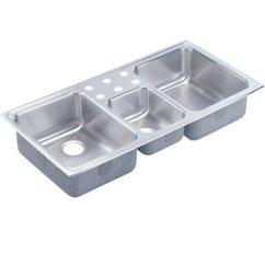Triple Sink Kitchen Design Ideas Gallery Elcr43226 Lustertone Bowl Stainless Steel