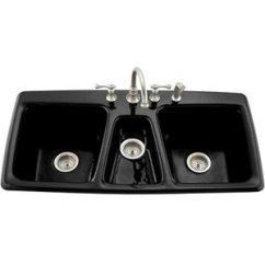 Triple Kitchen Sink Outdoor Grill Insert K5914 4 7 Trieste Bowl Black At