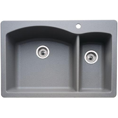 gray kitchen sink island countertops b440198 diamond white color dual mount double bowl metallic at fergusonshowrooms com