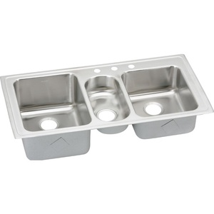 triple sink kitchen green rug elgr43222 gourmet bowl stainless steel at