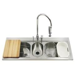 Triple Kitchen Sink Top Corner Cabinet K3328 3 Na Pro Taskcenter Bowl Stainless Steel