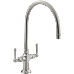 two handle kitchen faucet country table k7341 4 bs hi rise brushed stainless at fergusonshowrooms com