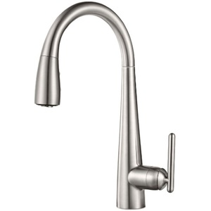 kitchen faucets stainless steel kitchens remodel pgt529sms lita pull out spray faucet at