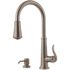 Pewter Kitchen Faucet Cabinet Drawers Pgt529ype Ashfield Pull Out Spray Rustic At