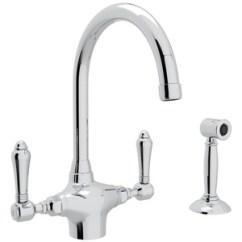 Two Handle Kitchen Faucet Large Sink Ra1676lmwsapc2 San Julio Polished Chrome