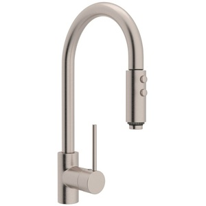 brushed nickel kitchen faucet with sprayer affordable tables rls59lstn2 pirellone pull out spray satin at