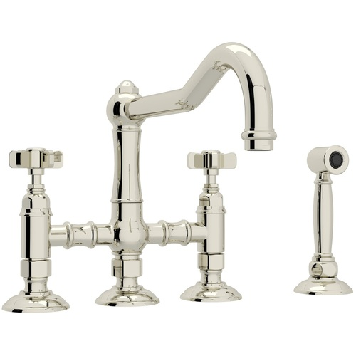four hole kitchen faucets renovation on a budget ra1458xwspn2 acqui two handle faucet polished nickel at fergusonshowrooms com
