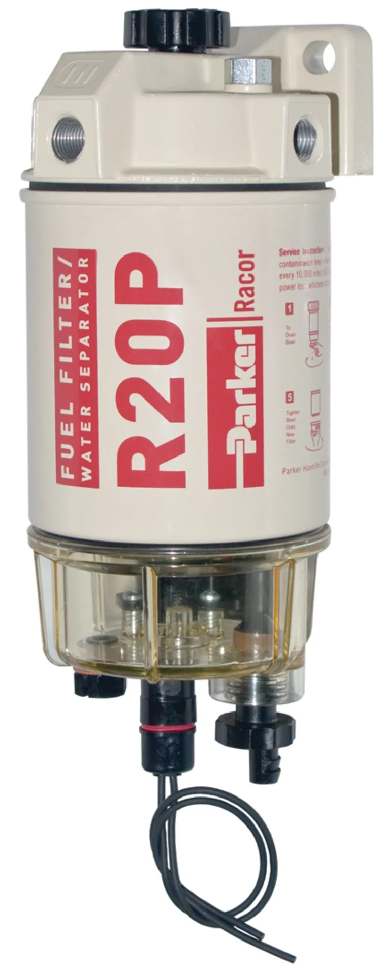 medium resolution of 230r diesel spin on fuel filter with clear bowl and heater