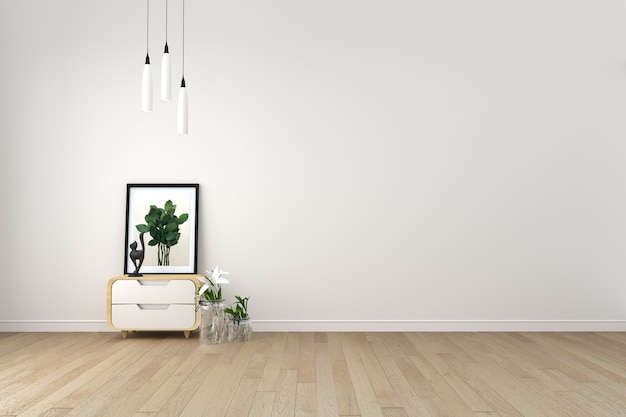 Sala de estar moderna con piso de madera y pared blanca