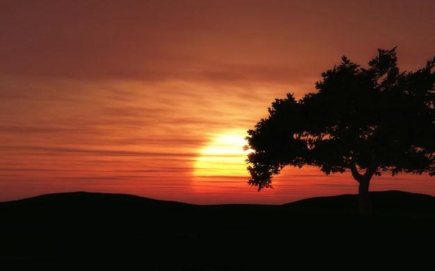 Il rendering 3D di un paesaggio al tramonto con la