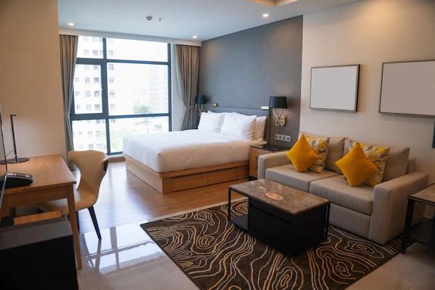 Design moderno apartamento com quarto e sala de estar