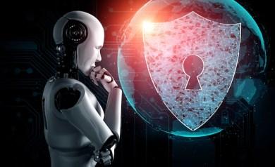 Robô de ia usando segurança cibernética para proteger a privacidade das informações Foto Premium