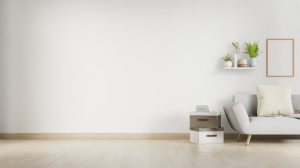 Innenwohnzimmer mit weißem sofa und leerer wand mit copyspace 3d rendering Premium Foto