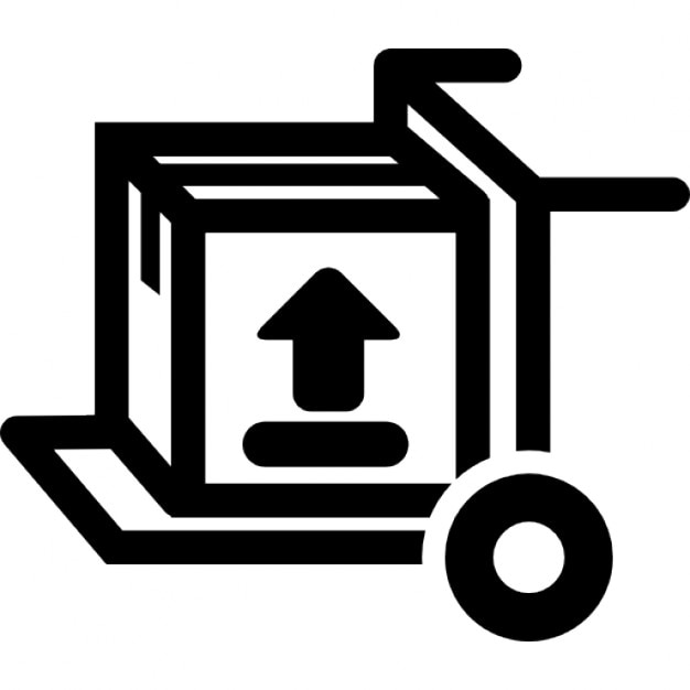 Cargo Box With Up Arrow On A Trolley Icons Free Download
