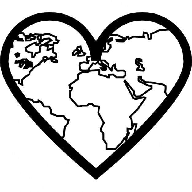 Heart with thin Earth continents outlines inside Icons