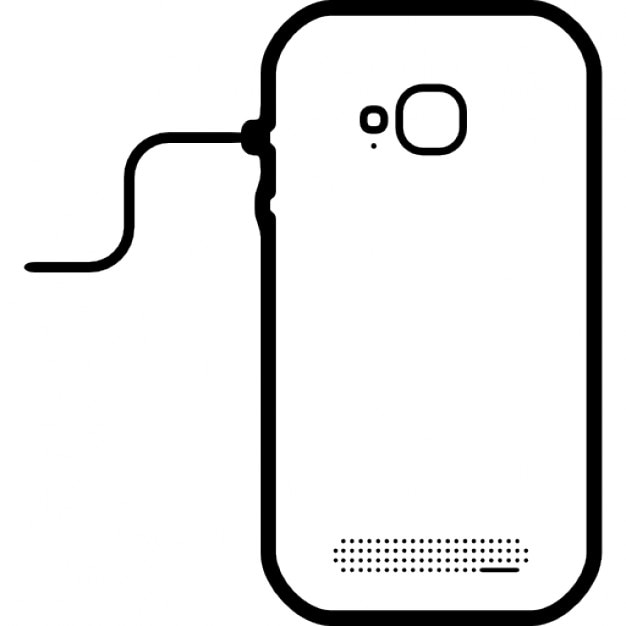 Mobile phone back connected to line with a cord Icons