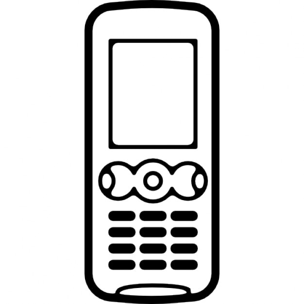Mobile phone with buttons included and small screen Icons