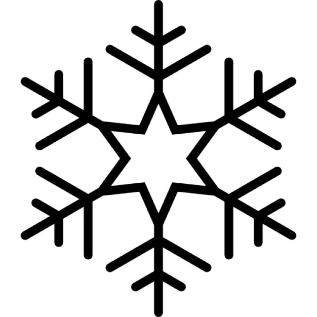 Snowflake with six points star in the center of lines
