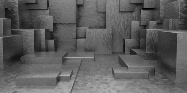 3d geometric abstract cuboid