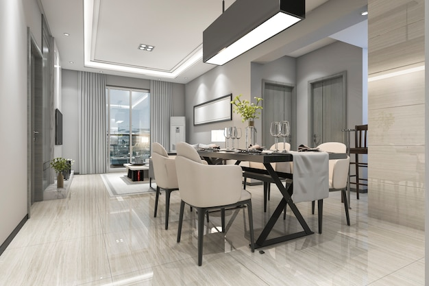 3d rendering modern dining room and living room with