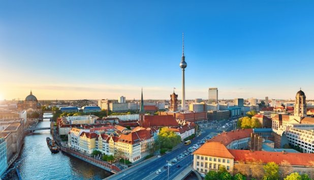 Aerial view of central berlin on a sunset in spring, including television tower on alexanderplatz Premium Photo