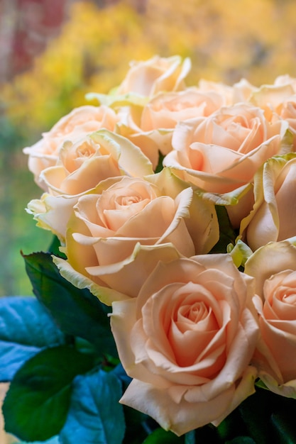 Premium Photo Bouquet Of Delicate Roses A Background Of Floral Roses Beautiful Flowers A Gift For The Holiday Fresh Flowers