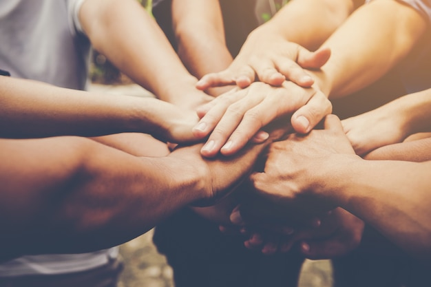 Business teamwork join hands together. business teamwork concept Free Photo