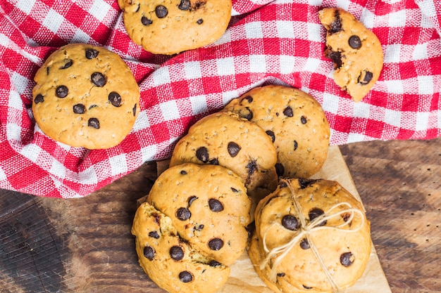 Chocolate Chip Cookie On White Background Photo Free