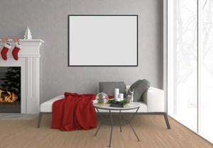 christmas wall mock living background frame interior horizontal mockup blank premium vertical bundle ups illustration designer follow