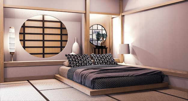 Premium Photo Circle Window Japanese Wall Design On Bedroom Japanese Style 3d Rendering