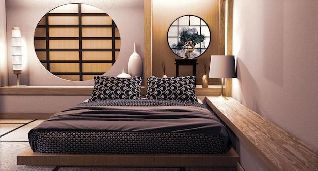 Premium Photo Circle Window Japanese Wall Design On Bedroom Japanese Style 3d Rendering