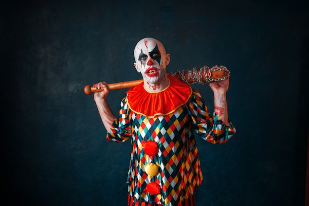 Country living editors select each product featured. Premium Photo Crazy Bloody Clown With Baseball Bat Man With Makeup In Halloween Costume Maniac