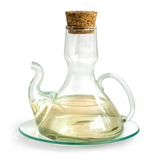 Decanter with vinegar isolated on the white Premium Photo