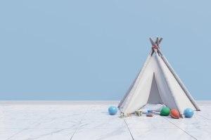 empty background playroom toy children premium wall tent freepik
