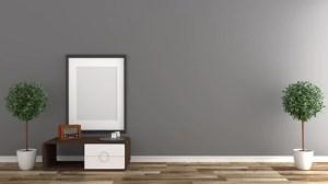 background empty interior wall wooden floor premium rendering 3d