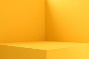 empty yellow background premium pedestal vivid rendering blank stand display interior 3d